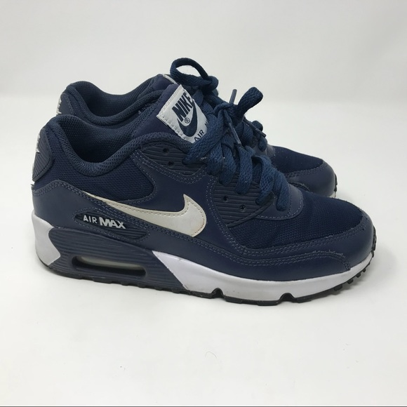 navy blue and white air max